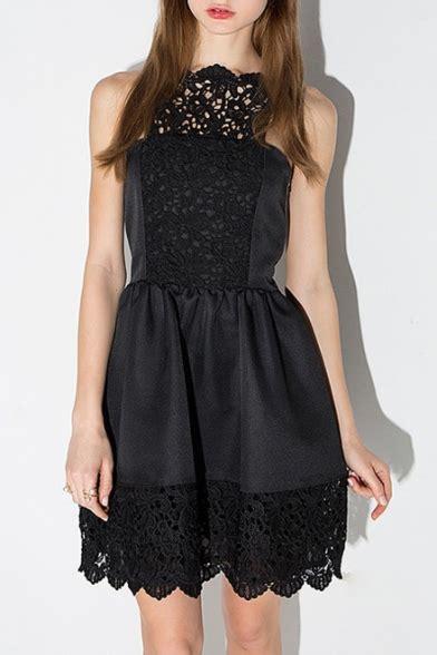 boat neck plain lace patchwork   mini black dress