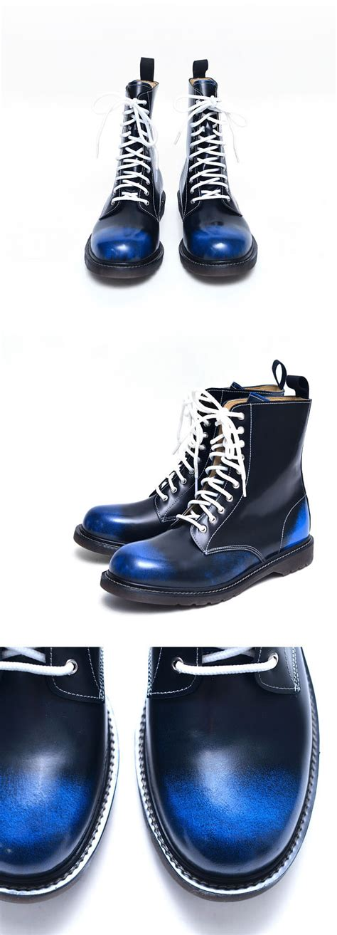 blue motorbike boots blue black gradation mens white lace combat motorcycle