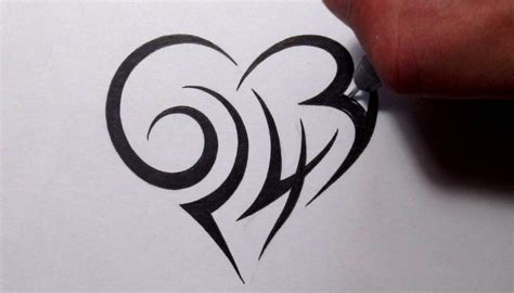 creating a tribal heart tattoo design with numbers youtube