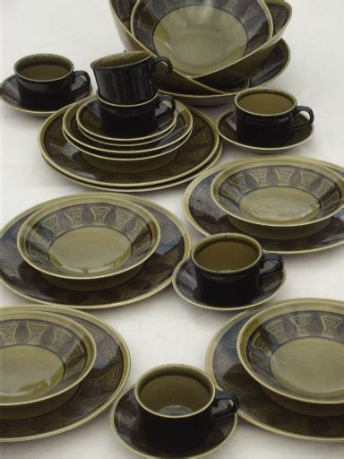 black pattern dinner set riviera green black taylor smith taylor 60s vintage
