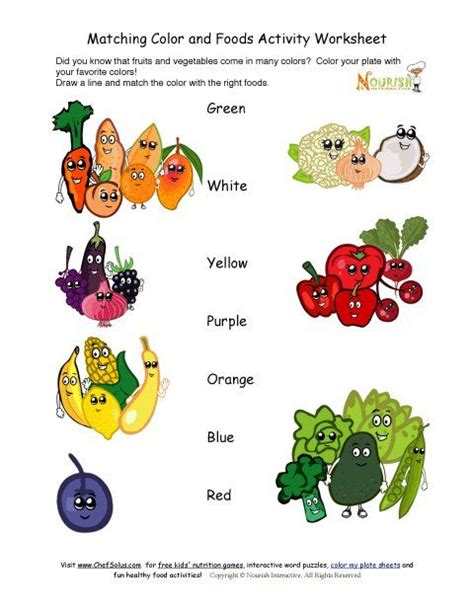 kindergarten activities nutrition match the colors to the fruits and vegetables activity