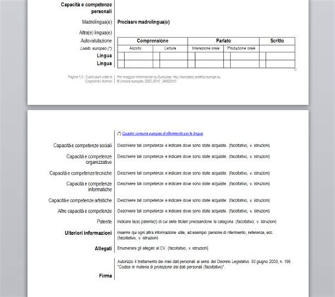 form cv europeo word curriculum vitae europass download