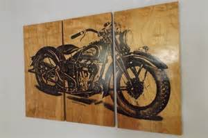 vintage indian motorcycle screen print wood painting wall