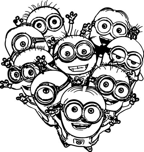 minions valentines coloring pages multiple minions coloring pages wecoloringpage