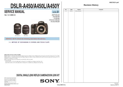 Kamera Sony Dslr A450 sony dslr a450 dslr a450l dslr a450y service manual free