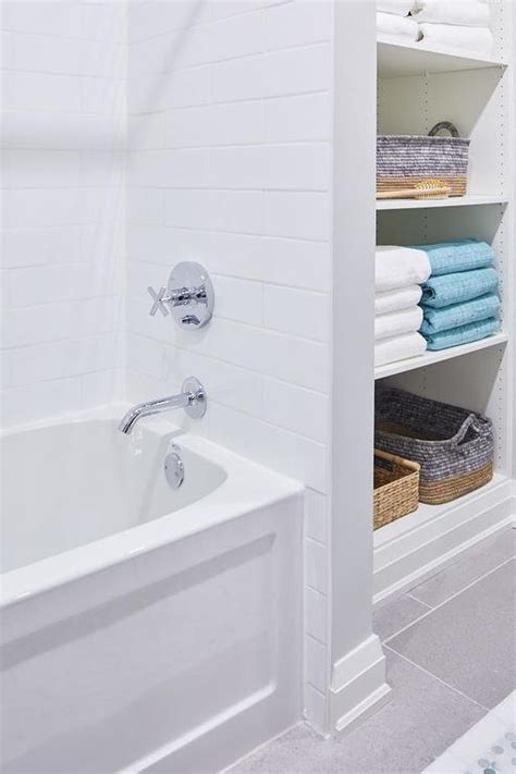 Next Bathroom Shelves White Subway Tiled Walls In Shower And Bathtub Combo Transitional Bathroom