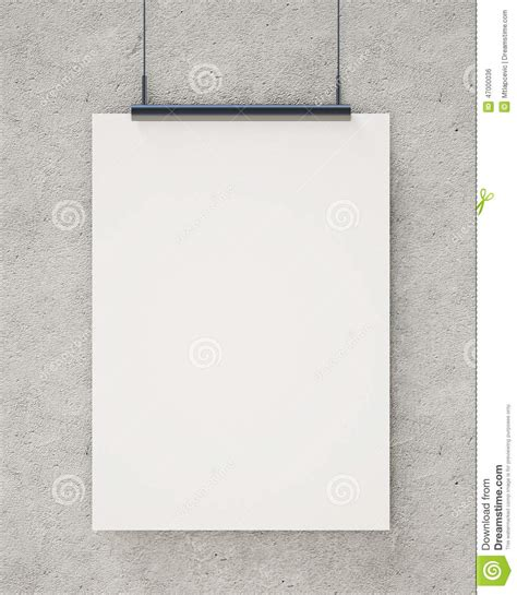 mock up blank white hanging poster on concrete wall