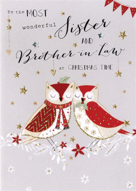 sister brother  law embellished christmas card cards