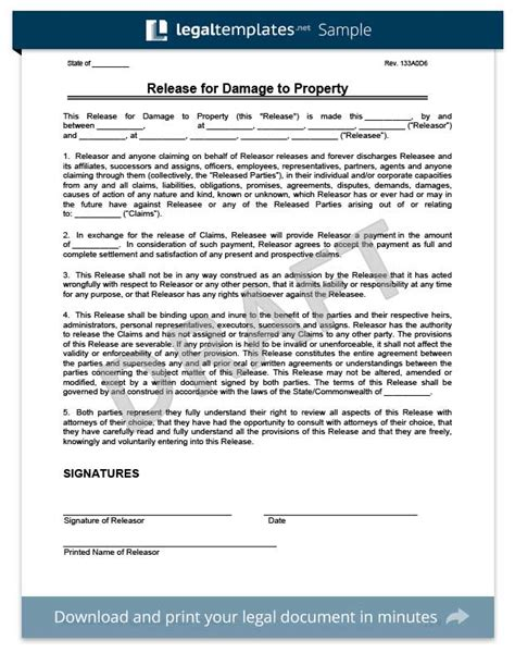 property damage waiver template free release of liability form sle waiver form