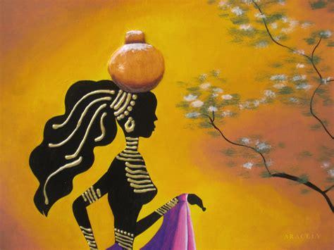 cuadros africa cuadro con pintura decorativa una representaci 243 n africana