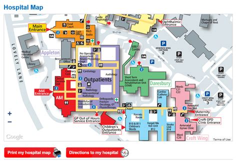 map of hospitals in getting to warrington hospital warrington halton hospitals