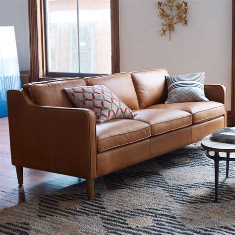 hamilton leather sofa 206 cm west elm au