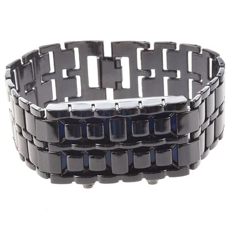 blue led digital black lava style wrist iron metal