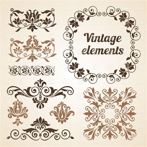 vintage design elements vector set 23 set of vintage design elements royalty free vector clip