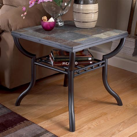 slate top end table slate end tables showcasing rustic details homesfeed