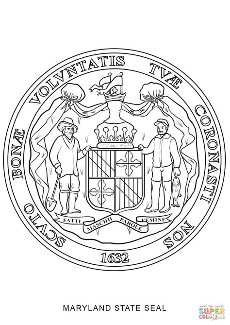 Of Maryland Search Seal Of Maryland Coloring Page Free Printable Coloring Pages