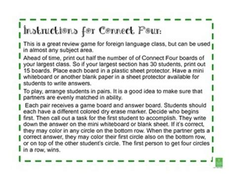 connect four template connect four templat by thinklessons teachers