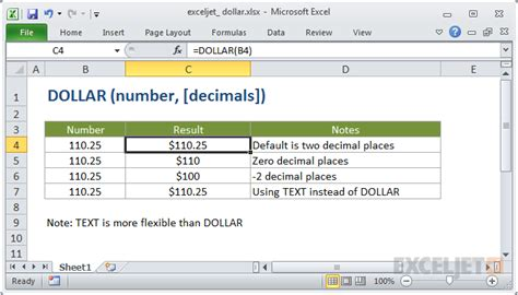 formula in excel format currency how to use the excel dollar function exceljet