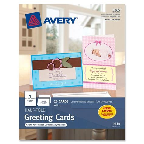 Half Fold Greeting Card Paper - half fold greeting card avery 3265 avery paper plotter