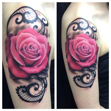 black and pink rose tattoo pink fresh by ravi lassi tattoonow