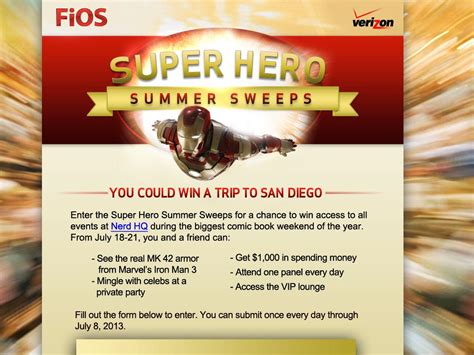 Verizon Sweepstakes Winner - verizon super hero summer sweepstakes