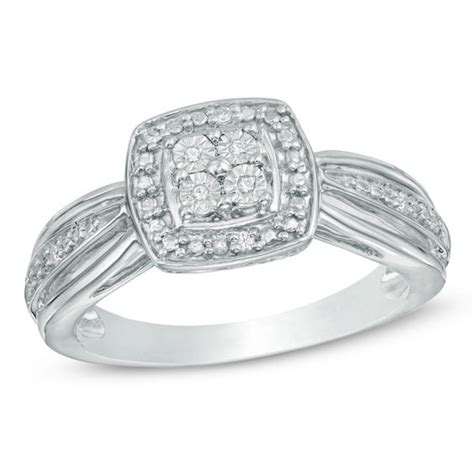 Zales S Day Rings Accent Square Frame Promise Ring In Sterling