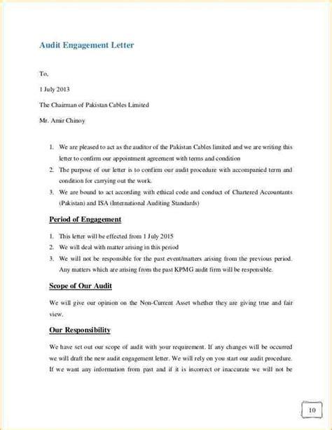 engagement letter template audit engagement letter sle template