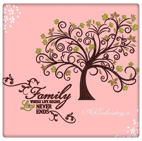 Family Tree Machine Embroidery Designs Set For Hoop 6x8 Family Designs