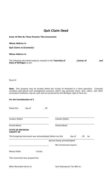 Printable Claim Deed Form