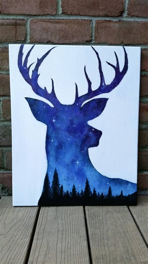 night sky painting acrylic painting deer art by themindblossom