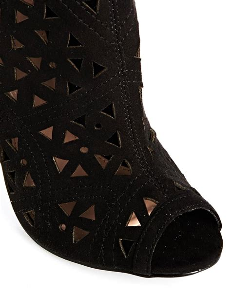 carvela kurt geiger gabby black laser cut out heeled shoe