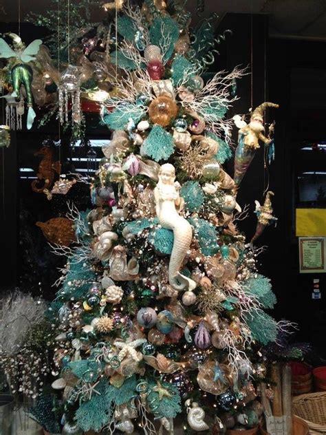 christmas tree decorated  sea ornaments  mermaid