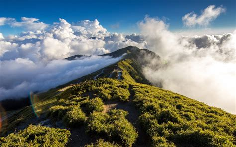 green wallpaper the range green mountain range among the clouds wallpapers and