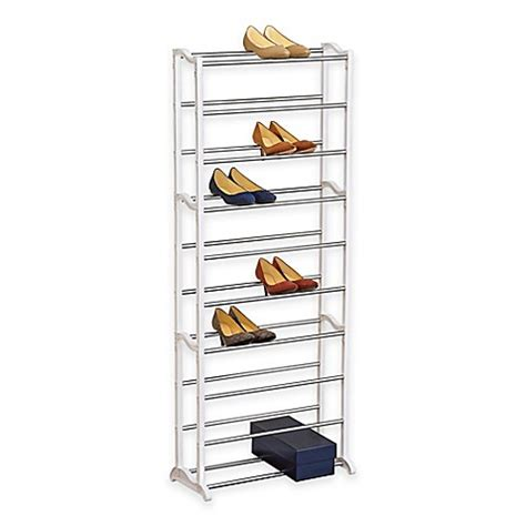 shoo rack bathroom 30 pair white shoe rack bed bath beyond