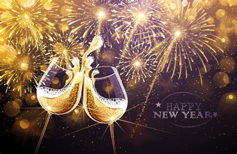 wine new year new year fireworks with wine cup vector vector festival