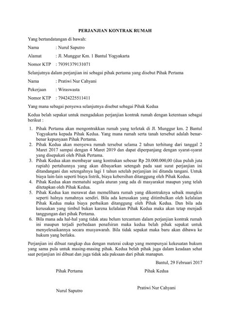 80 contoh surat perjanjian kontrak rumah contoh surat halau penyewa
