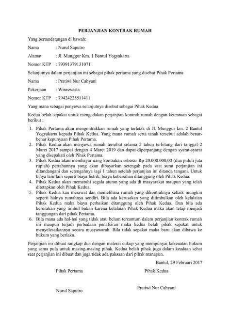 contoh surat perjanjian kontrak rumah sederhana contohsuratmu
