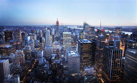 New City Top new york city skyline at blue hour from the top of the