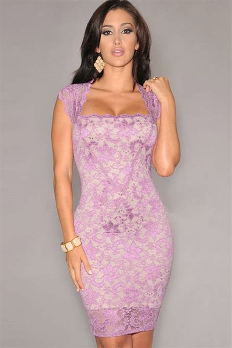 light purple crochet lace square neck sleeveless bodycon