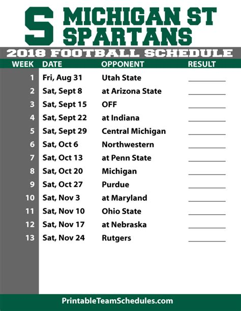 Michigan State Football Schedule 2018 Printable