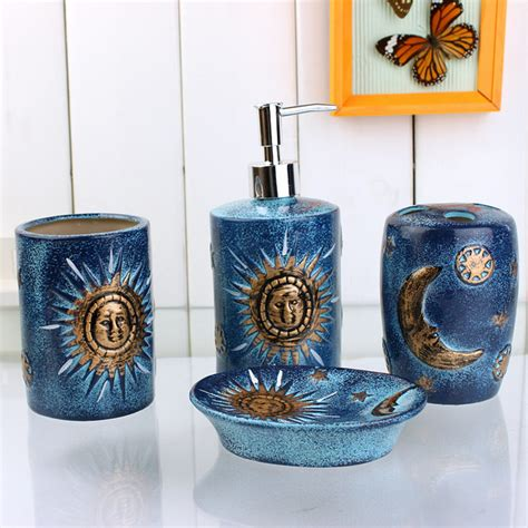 blue bathroom accessories sets 4 golden sun and moon pattern blue ceramic bath