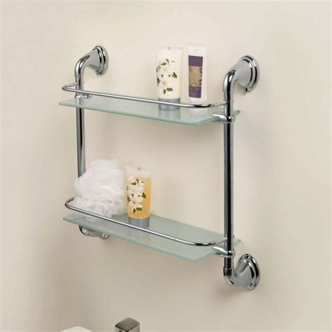 Chrome 2 Tier Glass Wall Mounted Bath Bathroom Shelves Wall Bathroom Shelves