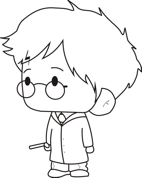 Harry Potter Chibi Coloring Pages | harry potter chibi lines by arikalp on deviantart