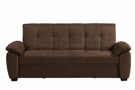 brown suede sofa bed chocolate padded suede modern sofa bed w storage