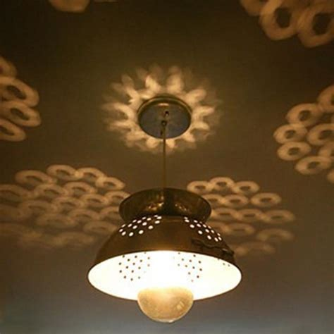 colander light fixture peculiar lighting design ideas recycling items with