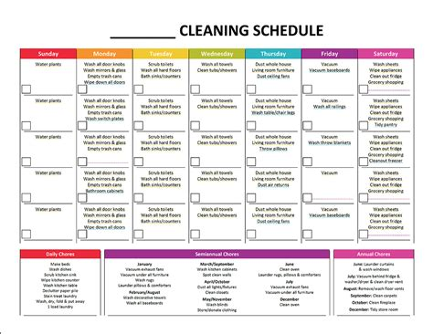 template for a schedule daily cleaning schedule template schedule template free