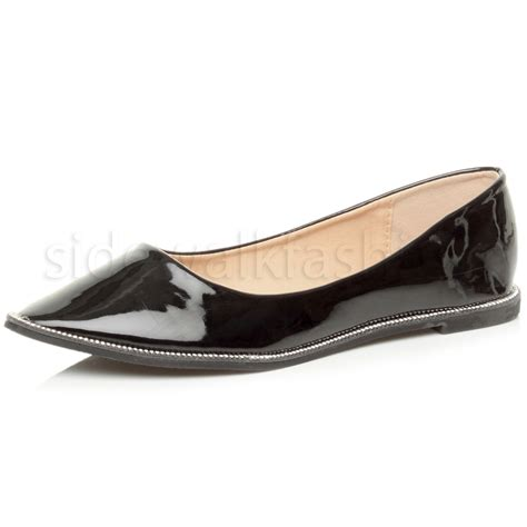flat pointed shoes womens flat pointed toe diamante trim mesh