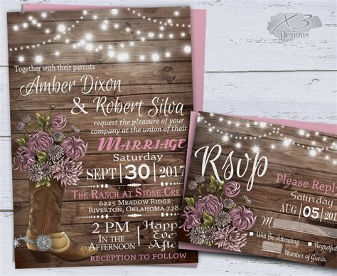 Western Wedding Invitations by Country Western Wedding Invitations Printable Rustic Wedding