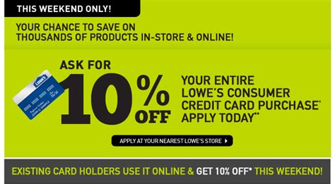 Pay Lowes Credit Card With Gift Cards - lowe s canada get 10 off your entire purchase this weekend with lowe s credit
