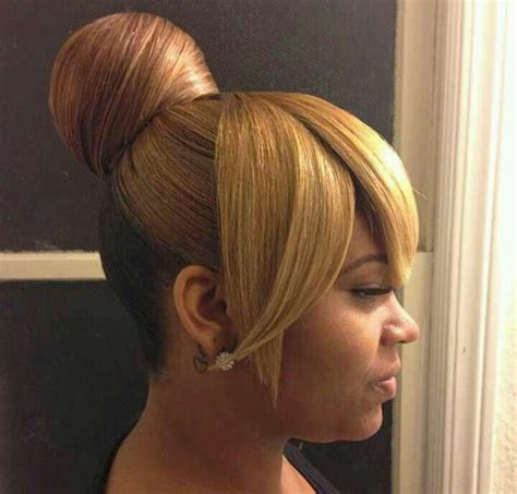 Black Hairstyles With Buns by Updo Buns With Bangs For Black New Style For 2016 2017